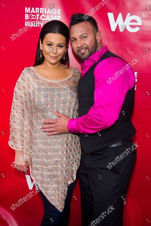 "Jenni ""JWoww"" Farley, left, and Roger Mathews attend WE tv's ""Marriage Boot Camp: Reality Stars"" party in New York. On, Farley gave birth to her first child. MTV officials say Meilani Alexandra Mathews _ who weighed 7 pounds, 13 ounces _ was born at 12:49 p.m. Sunday. A representative for Farley said both mother and daughter are doing well. The child's father is Farley's fiance, Roger Mathews"