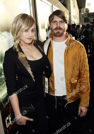"""Cast member Olivia Taylor Dudley, left, and Evan Glodell pose together at the premiere of """"Chernobyl Diaries"""" on in Los Angeles"""