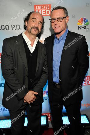 "Elias Koteas and Jason Beghe seen at Red Carpet Event for NBC's ""Chicago Fire,"" ""Chicago P.D."" and ""Chicago Med"" at STK, in Chicago"