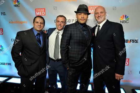 "Tony Ferrais, David Eigenberg, Joe Minoso, and Randy Flagler seen at Red Carpet Event for NBC's ""Chicago Fire,"" ""Chicago P.D."" and ""Chicago Med"" at STK, in Chicago"