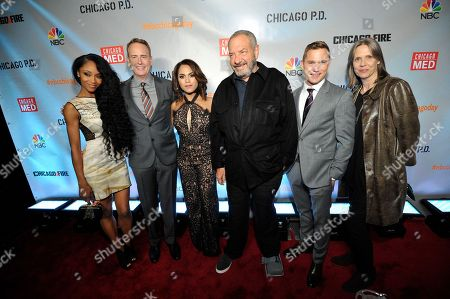 "Yaya DaCosta, Robert Greenblatt, Monica Raymund, Dick Wolf, Brian Geraghty, Amy Morton seen at Red Carpet Event for NBC's ""Chicago Fire,"" ""Chicago P.D."" and ""Chicago Med"" at STK, in Chicago"