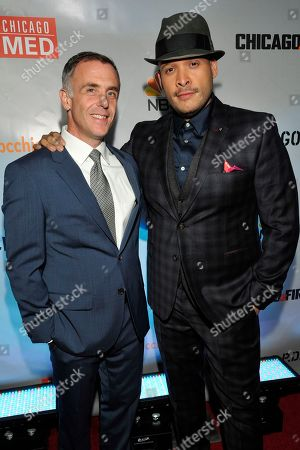 "David Eigenberg and Joe Minoso seen at Red Carpet Event for NBC's ""Chicago Fire,"" ""Chicago P.D."" and ""Chicago Med"" at STK, in Chicago"