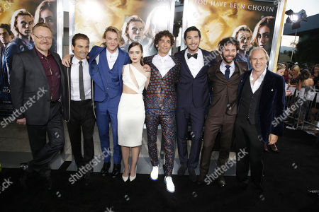 Jared Harris, Kevin Zegers, Jamie Campbell Bower, Lily Collins, Robert Sheehan, Godfrey Gao, Aidan Sheehan and Director Harald Zwart seen at Screen Gems 'The Mortal Instruments: City of Bones' Los Angeles Premiere, on Monday, August, 12, 2013 in Los Angeles
