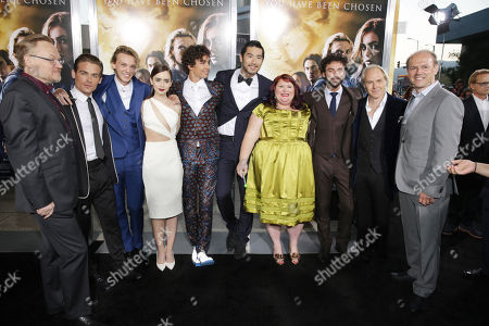 Jared Harris, Kevin Zegers, Jamie Campbell Bower, Lily Collins, Robert Sheehan, Godfrey Gao, Novelist Cassandra Clare, Aidan Sheehan, Director Harald Zwart and Producer Robert Kulzer seen at Screen Gems 'The Mortal Instruments: City of Bones' Los Angeles Premiere, on Monday, August, 12, 2013 in Los Angeles