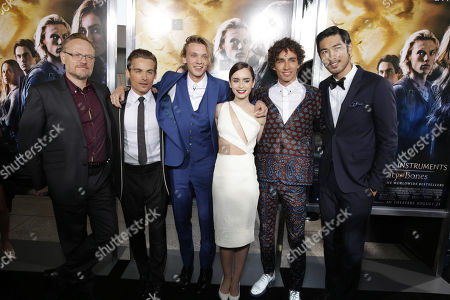 Jared Harris, Kevin Zegers, Jamie Campbell Bower, Lily Collins, Robert Sheehan and Godfrey Gao seen at Screen Gems 'The Mortal Instruments: City of Bones' Los Angeles Premiere, on Monday, August, 12, 2013 in Los Angeles