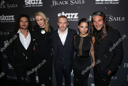 """From left, Luke Arnold, Hannah New, co-creator Jonathan E. Steinberg, Jessica Parker Kennedy, and Zach McGowan arrive at the Starz """"Black Sails"""" Premiere on in Los Angeles"""