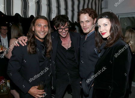 """From left, Zach McGowan, Toby Schmitz, Sam Heughan, and Caitriona Balfe are seen at the Starz """"Black Sails"""" Premiere on in Los Angeles"""