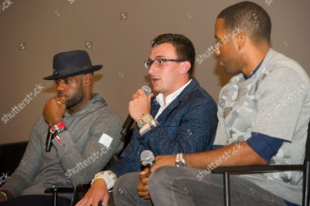 """LeBron James, left, Johnny Manziel and Maverick Carter, right, participate in a question and answer session at the Starz screening of """"Survivor's Remorse"""" at the Capitol Theater, in Cleveland, Ohio"""