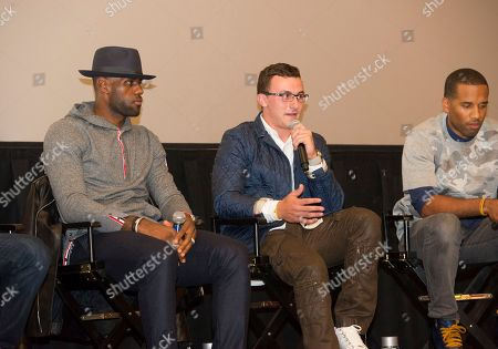 """Stock Photo of LeBron James, left, Johnny Manziel and Maverick Carter, right, participate in a question and answer session at the Starz screening of """"Survivor's Remorse"""" at the Capitol Theater, in Cleveland, Ohio"""