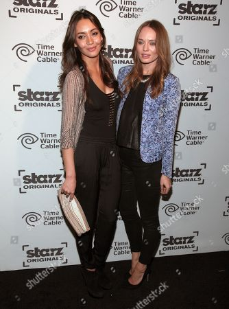 """Actresses Carolina Guerra, left, and Laura Haddock, right, attend a presentation of STARZ original series """"Da Vinci's Demons"""" and """"Black Sails"""" on in New York"""
