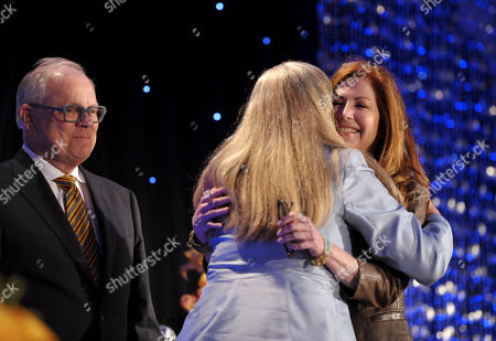 """Co-chairs of the Television Cares Committee John Shaffner (left), Lynn Roth (center) and host Dana Delany speak onstage at the Academy of Television Arts & Sciences Presents """"The 6th Annual Television Honors"""" at the Beverly Hills Hotel on in Beverly Hills, California"""