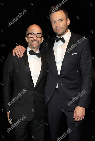 Jim Rash, left, and Joel McHale pose backstage at the Television Academy's Creative Arts Emmy Awards at the Nokia Theater L.A. LIVE, in Los Angeles