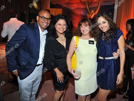Keu Reyes and from left, Dolores Cantu, Susan Nessanbaum-Goldberg and Yvette Gonzalez-Nacer seen at the Television Academy's 66th Emmy Awards Dynamic and Diverse Nominee Reception at the Television Academy, in the NoHo Arts District in Los Angeles