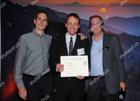 Chip Johannessen, and from left, Alec Berg and Pete Hammond attend the Television Academy's 66th Emmy Awards Writers Nominee Reception on at the Television Academy in the NoHo Arts District of Los Angeles