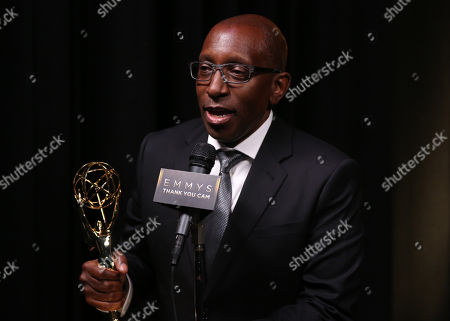 "EXCLUSIVE - Greg Phillinganes participates in an interview with the outstanding music direction award for ""Stevie Wonder: Songs In The Key Of Life - An All-Star GRAMMY Salute"" at the Television Academy's Creative Arts Emmy Awards at Microsoft Theater, in Los Angeles"