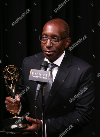 "Stock Picture of EXCLUSIVE - Greg Phillinganes participates in an interview with the outstanding music direction award for ""Stevie Wonder: Songs In The Key Of Life - An All-Star GRAMMY Salute"" at the Television Academy's Creative Arts Emmy Awards at Microsoft Theater, in Los Angeles"