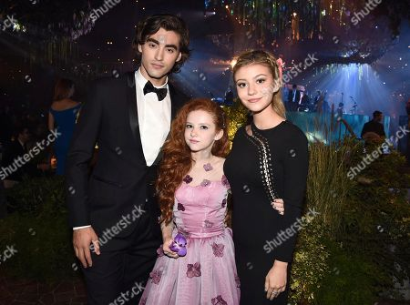 Stock Picture of Blake Michael, from left, Francesca Capaldi, and G. Hannelius at the Governors Ball for night one of the Television Academy's 2016 Creative Arts Emmy Awards at the Microsoft Theater on in Los Angeles