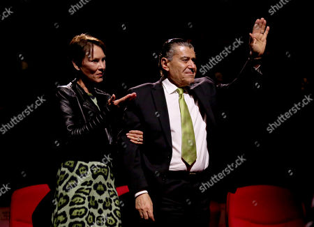 Cheryl Saban, left, and Haim Saban are acknowledged at the Television Academy's 70th Anniversary Gala and Opening Celebration for its new Saban Media Center, in the NoHo Arts District in Los Angeles