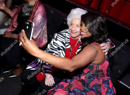 Charlotte Rae, left, and Niecy Nash take a selfie at the Television Academy's 70th Anniversary Gala and Opening Celebration for its new Saban Media Center, in the NoHo Arts District in Los Angeles