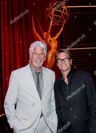 Barry Bostwick, left, and Harry Hamlin at the Television Academy's 70th Anniversary Gala and Opening Celebration for its new Saban Media Center, in the NoHo Arts District in Los Angeles