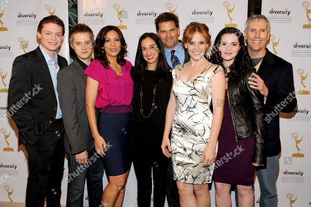 """Stock Image of FEBRUARY 15: (L-R) Actors Sean Berdy, Lucas Grabeel, Constance Marie, executive producer Lizzy Weiss, actors D.W. Moffett, Katie Leclerc, Vanessa Marano and executive producer Paul Stupin arrive at The Academy of Television Arts & Sciences Diversity Committee and ABC Family Present """"Switched At Birth"""" Panel Discussion on in North Hollywood, California"""