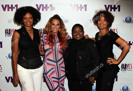 """L-R) Panalists Kimberly Elise, Sheree Fletcher, Endyia Kinney-Sterns and Cori Murray pose at The Hollywood Confidential Panel Discussion Series - """"Images of African-American Women in Mainstream Media"""" at The Museum of Tolerance on in Los Angeles, California"""