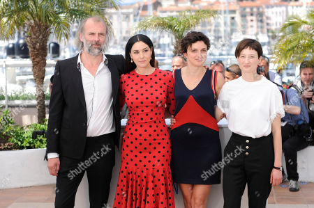 Actors Sam Louwyck, Monica Bellucci, director Alice Rohrwacher and actress Alba Rohrwacher pose for photographers during a photo call for The Wonders (Le Meraviglie) at the 67th international film festival, Cannes, southern France