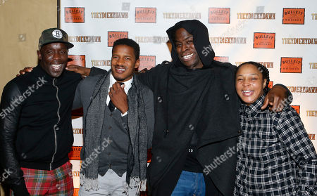 """From left, actors Michael K. Williams, Nate Parker, director Jeymes Samuel and actress Felicia Pearson pose together at the Bulleit Bourbon presents """"They Die By Dawn"""" film screening, in New York"""