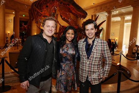 Skyler Stone, Tiya Sircar and John Leguizamo seen at Twentieth Century Fox 'Walking with Dinosaurs', on Thursday, Dec, 12, 2013 in Los Angeles