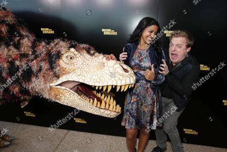 Tiya Sircar and Skyler Stone seen at Twentieth Century Fox 'Walking with Dinosaurs', on Thursday, Dec, 12, 2013 in Los Angeles