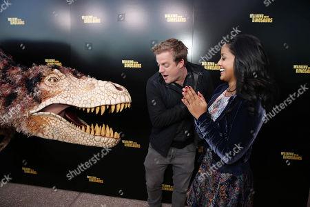 Skyler Stone and Tiya Sircar seen at Twentieth Century Fox 'Walking with Dinosaurs', on Thursday, Dec, 12, 2013 in Los Angeles