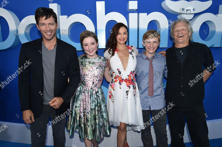 """Stock Image of Harry Connick Jr., Cozi Zuehlsdorff, Ashley Judd, Nathan Gamble and Kris Kristofferson seen at the Los Angeles Premiere of Warner Bros. Pictures' and Alcon Entertainment's """"Dolphin Tale 2"""" held at the Regency Village Theatre, Westwood, Calif"""