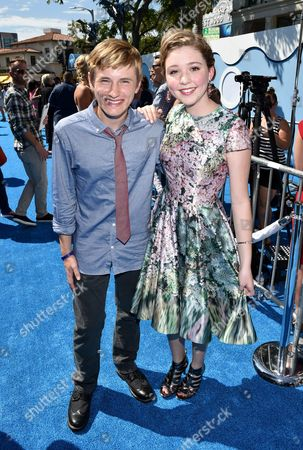 """Nathan Gamble and Cozi Zuehlsdorff seen at the Los Angeles Premiere of Warner Bros. Pictures' and Alcon Entertainment's """"Dolphin Tale 2"""" held at the Regency Village Theatre, Westwood, Calif"""