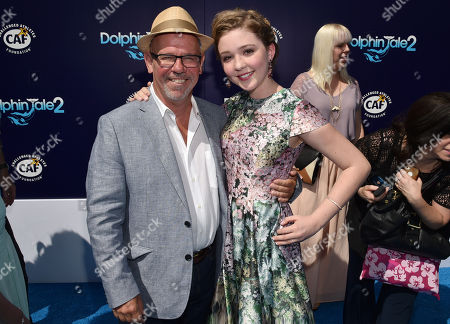 """Director/Writer Charles Martin Smith and Cozi Zuehlsdorff seen at the Los Angeles Premiere of Warner Bros. Pictures' and Alcon Entertainment's """"Dolphin Tale 2"""" held at the Regency Village Theatre, Westwood, Calif"""
