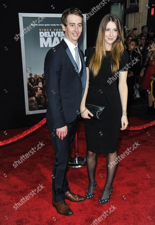 "Stephen Ellis, left, and guest arrive at the world premiere of ""Delivery Man"" at The El Capitan Theatre on in Los Angeles"