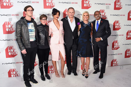 """Andrew Jenks, left Nancy Mahon, Rihanna, John Demsey, Karen Buglisi Weiler and Michel Sidibe right arrive at M·A·C Cosmetics and the M·A·C AIDS Fund's worldwide premiere of It's Not Over"""" at Quixote Studios,, in West Hollywood, California"""