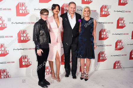 """Nancy Mahon, left Rihanna, John Demsey and Karen Buglisi Weiler right arrive at M·A·C Cosmetics and the M·A·C AIDS Fund's worldwide premiere of It's Not Over"""" at Quixote Studios,, in West Hollywood, California"""