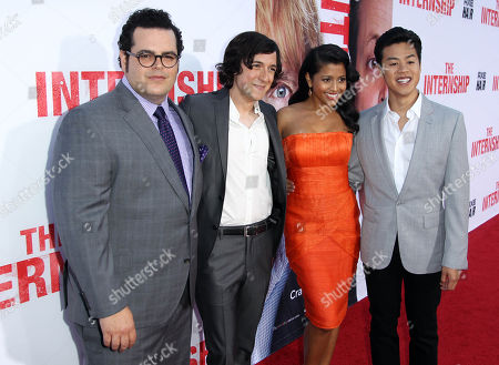 """From left, Josh Gad, Josh Brener, Tiya Sircar, and Tobit Raphael pose together at the world premiere of """"The Internship"""" at the Regency Village Westwood on in Los Angeles"""