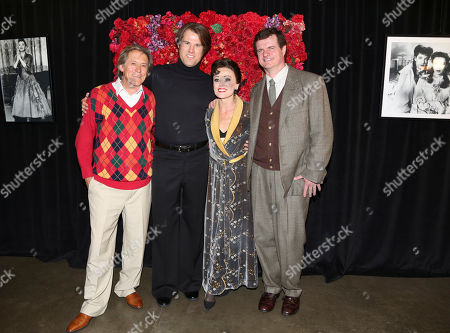 """From left, cast members Miles Anderson, Erik Heger, Tracie Bennett and Michael Cumpsty pose backstage after the opening night performance of """"End of the Rainbow"""" at Center Theatre Group/Ahmanson Theatre on in Los Angeles, Calif"""