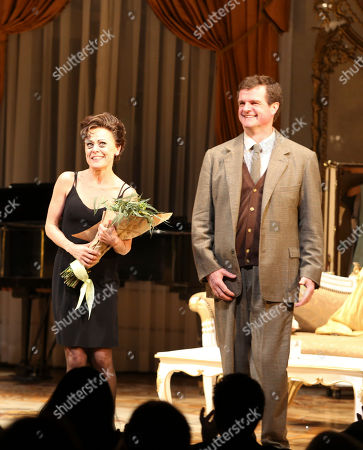 """From left, cast members Tracie Bennett and Michael Cumpsty take their bows during the curtain call after the opening night performance of """"End of the Rainbow"""" at Center Theatre Group/Ahmanson Theatre on in Los Angeles, Calif"""
