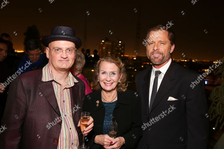 """From left, Director Terry Johnson, actress Juliet Mills and actor Maxwell Caulfield pose during the party for the opening night performance of """"End of the Rainbow"""" at Center Theatre Group/Ahmanson Theatre on in Los Angeles, Calif"""