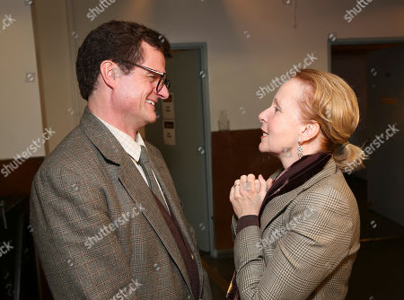 """From left, cast member Michael Cumpsty and actress Kate Burton talk backstage after the opening night performance of """"End of the Rainbow"""" at Center Theatre Group/Ahmanson Theatre on in Los Angeles, Calif"""
