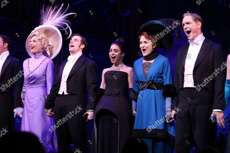 """From left, Dee Hoty, Corey Cott, Vanessa Hudgens, Victoria Clark and Howard McGillin appear on stage at the Broadway opening night curtain call of """"Gigi"""" at the Neil Simon Theatre, in New York"""