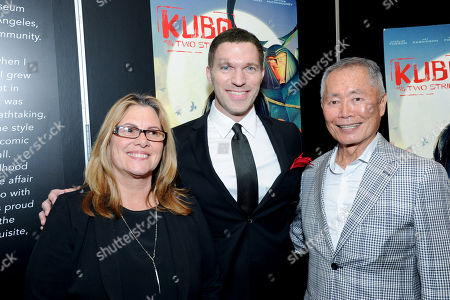 """Stock Picture of Ann Burroughs, Japanese American National Museum Interim President and CEO, Director/Producer Travis Knight and George Takei seen at """"Kubo and the Two Strings"""" George Takei Puppet Presentation at Japanese American National Museum, in Los Angeles"""