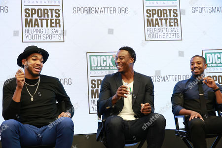 Karl-Anthony Towns, Brandon Marshall and Michael B. Jordan discuss the importance of youth sports funding at the DICK's Sporting Goods Sports Matter panel at NASDAQ MarketSite on in New York