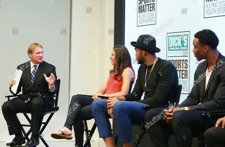 Moderator Jon Gruden, Carli Lloyd, Karl-Anthony Towns and Brandon Marshall discuss the importance of youth sports funding at the DICK's Sporting Goods Sports Matter panel at NASDAQ MarketSite on in New York