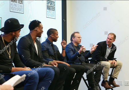 Karl-Anthony Towns, Brandon Marshall, Michael B. Jordan, Buzz Bissinger, and Paul Caccamo discuss the importance of youth sports funding at the DICKâ?™S Sporting Goods Sports Matter panel at NASDAQ MarketSite on in New York