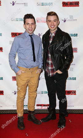 "From left, Daniel Switzer and Chester Lockhart pose during the arrivals for the opening night performance of ""Spring Awakening"" at the La Mirada Theatre for the Performing Arts on in La Mirada, Calif"
