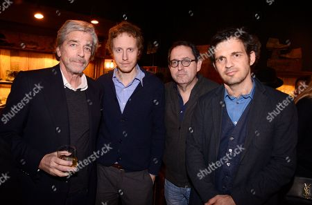 """Todd Morgan, Director László Nemes, Michael Barker, Co-President and Co-Founder of Sony Pictures Classics, and Géza Röhrig seen at """"The Revenant"""" Party at MadeWorn hosted by Edward Norton, Shauna Robertson and Brett Ratner and sponsored by Bulleit Rye, in Los Angeles"""
