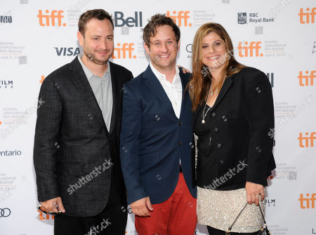 "Directors Robert Pulcini, left, and Shari Springer Berman pose with actor Christopher Fitzgerald, center, attend the ""Imogene"" premiere during the Toronto International Film Festival on in Toronto"
